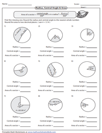Arc Length and Area of a Sector Worksheets