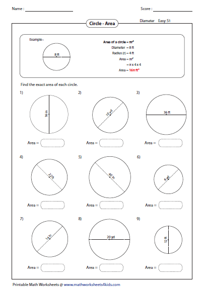 Area And Circumference Of A Circle Independent Practice