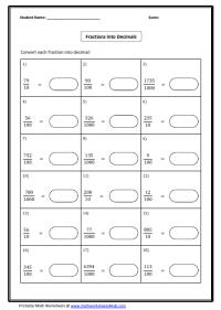 Convert between Fraction, Decimal and Percent Worksheets