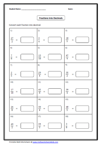 Fractions Decimals And Percents Worksheets Grade 7