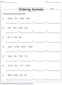 Order Decimals Worksheet - Calleveryonedaveday