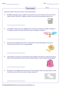 Decimal Word Problems Worksheets