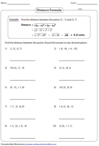 Printables. Distance Formula Worksheet. Lemonlilyfestival