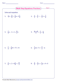 Multi-Step Equation Worksheets