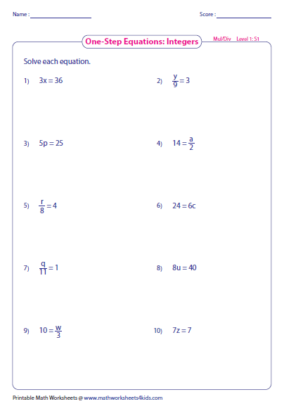Math Worksheets One Step Equations Answer Key. Math. Best
