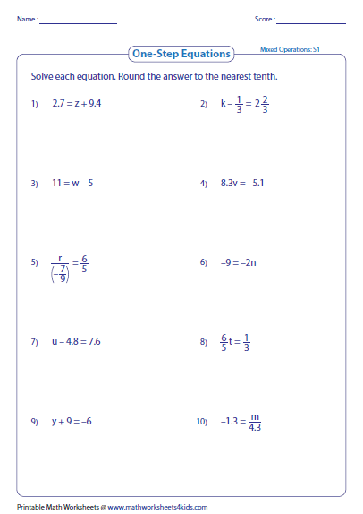Printables. Solving Linear Equations Worksheets