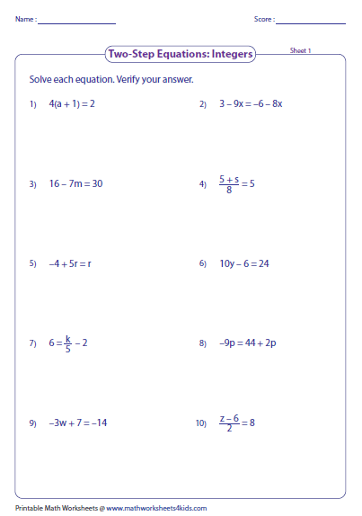 Solving Two Step Equations Worksheet. Worksheets. Tataiza