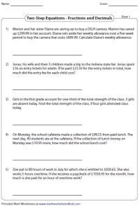 Pictures Two Step Equations Word Problems Worksheet ...