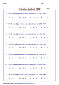 Estimating Decimals and Fractions Worksheets