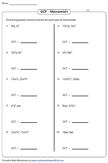 Greatest Common Factor Worksheets