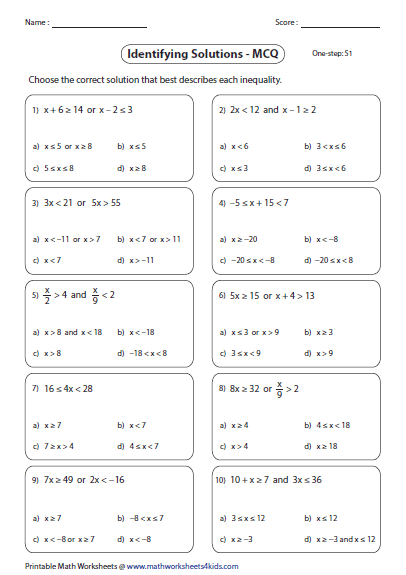 Compound Inequalities worksheets