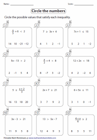Two Step Inequalities worksheets