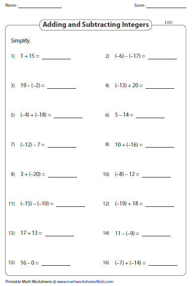 All Worksheets  Adding And Subtracting Positive And