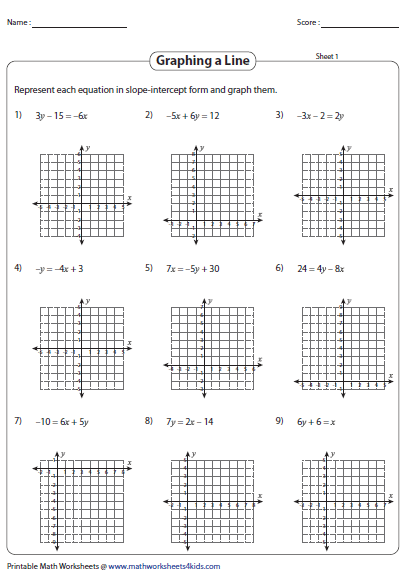Graphing Linear Equation Worksheets