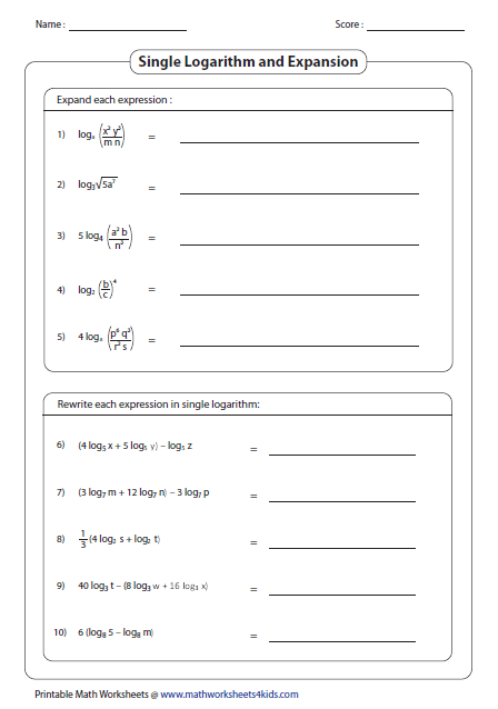 Logarithms Worksheets