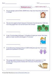 Multiplication Word Problems Worksheets