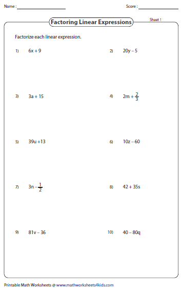All Worksheets » Factoring Polynomials Worksheets