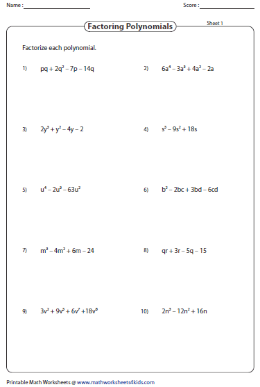 Factoring Polynomial Worksheets