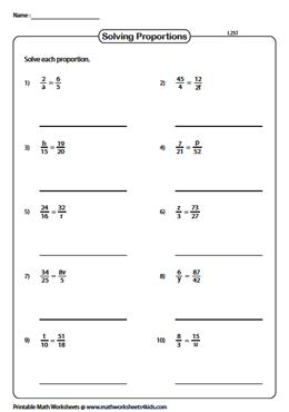Solving Proportions Worksheets