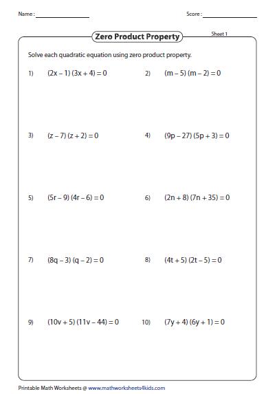 Quadratics Worksheet