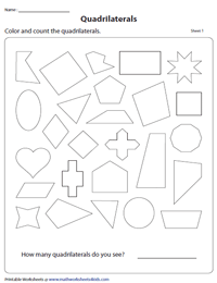 Identifying Quadrilaterals Worksheets