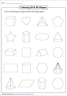 Comparing 2D and 3D Shapes Worksheets