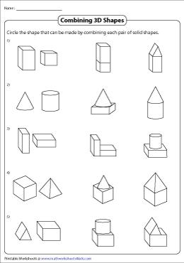 Composing 3D Shapes Worksheets