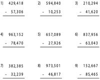 6-Digit Subtraction Worksheets