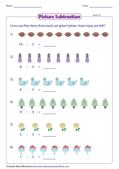 Picture Subtraction Facts Worksheets