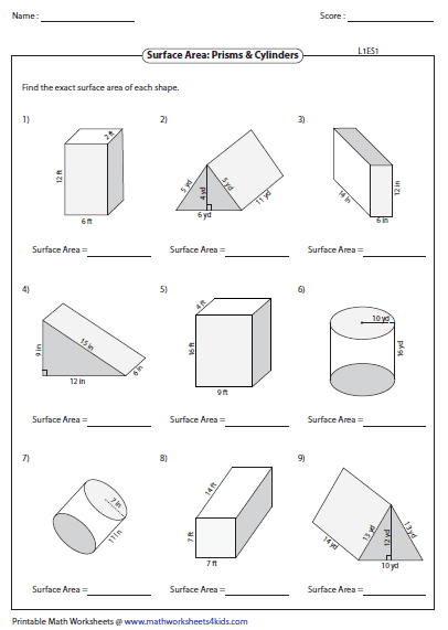 Volumes Of Prisms And Cylinders Worksheet Answers