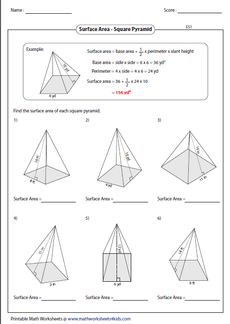 Volume And Surface Area Of Cone Worksheet