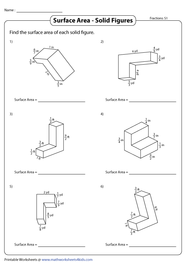Surface Area of Non-Overlapping Rectangular Prisms Worksheets
