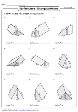 Surface Area of Triangular Prisms Worksheets