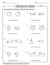 Slide, Flip and Turn Worksheets