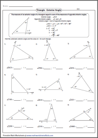 Triangle Interior Angles Worksheet. triangle sum theorem ...