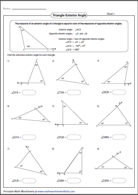 Sum Of Interior Angles A Triangle Worksheet Pdf