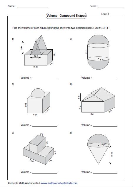 Printables of Calculating Volume Worksheet Key