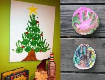 Χριστουγεννιάτικο δέντρο με δαχτυλομπογιές