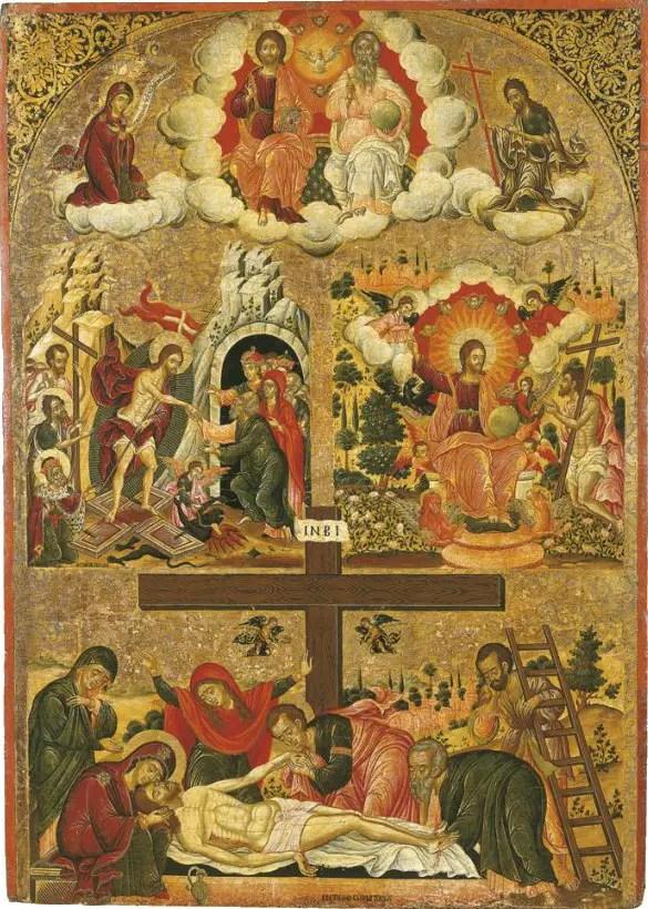 η Αγία Τριάδα, η εις Άδου Κάθοδος, ο Χριστός εν Παραδείσω και ο Επιτάφιος, Θεόδωρος Πουλάκης, δεύτερο μισό του 17ου αιώνα