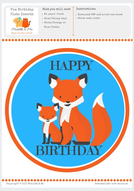 Fox Themed Birthday Party Plate insert