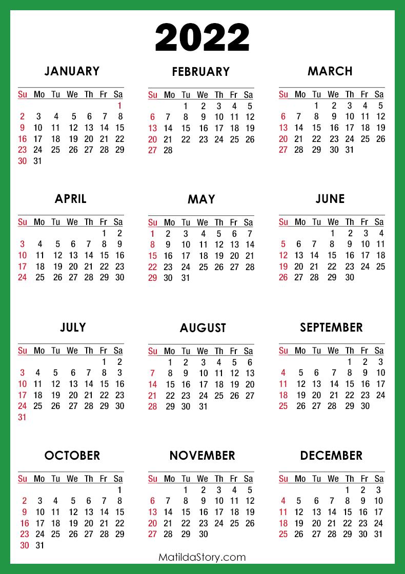 2022 Calendar Printable Free, Green - Sunday Start ...