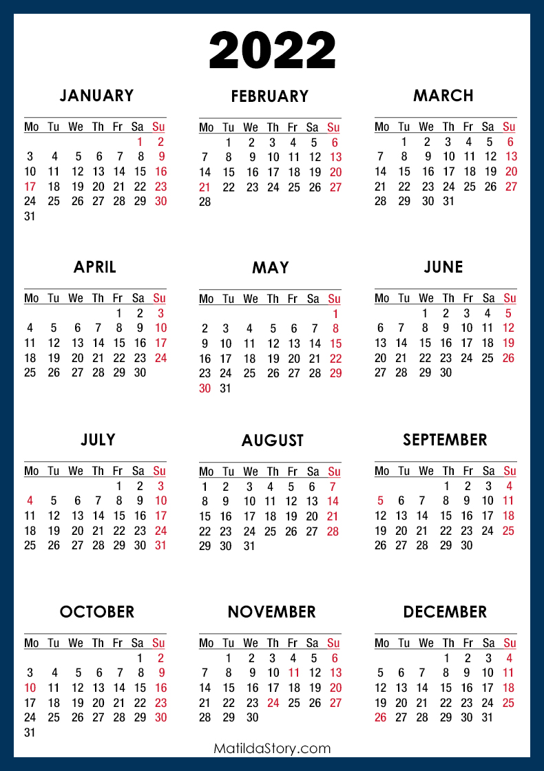 2022 Calendar with Holidays, Printable Free, Blue - Monday ...