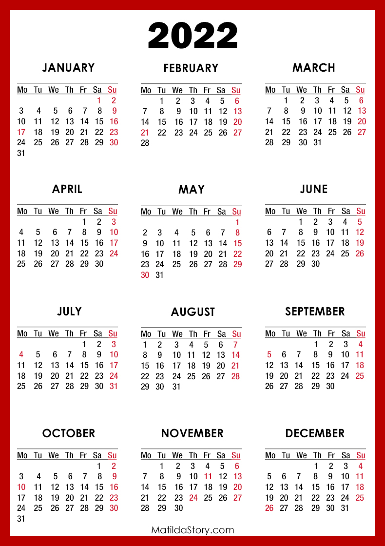 2022 Calendar with Holidays, Printable Free, Red - Monday ...