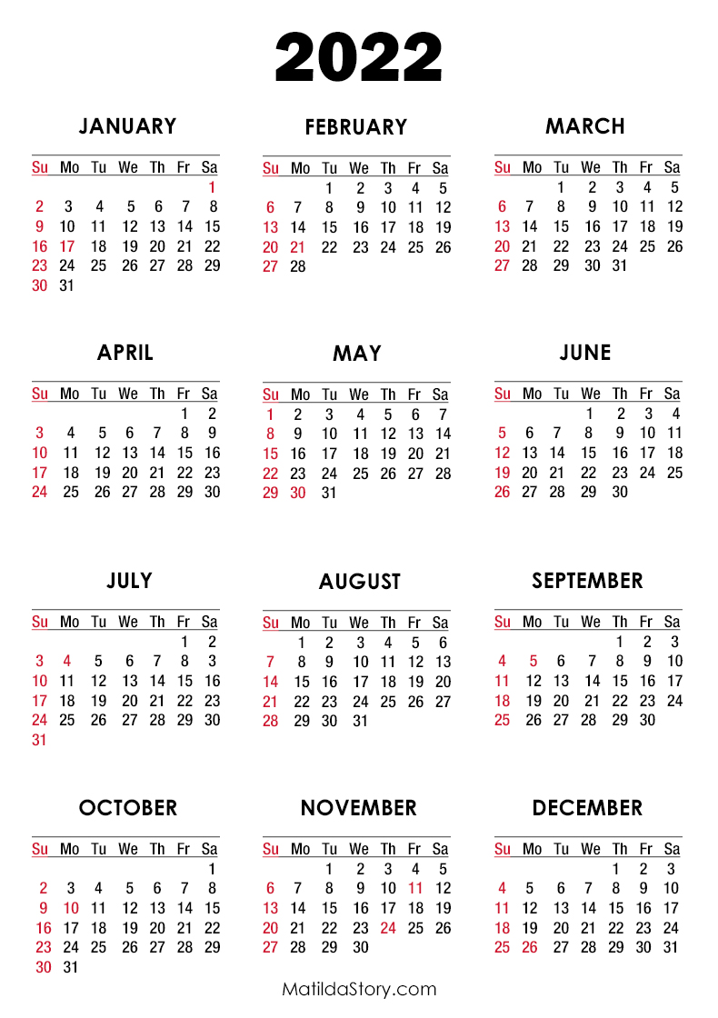2022 Calendar with Holidays, Printable Free, White ...