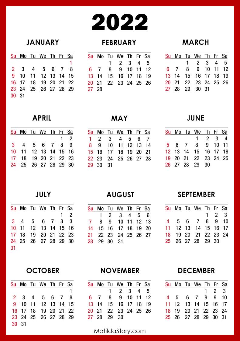 2022 Calendar Printable Free, Red - Sunday Start ...