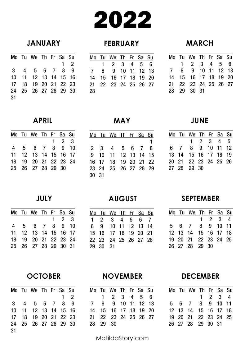 2022 Calendar Printable Free, White - Monday Start ...