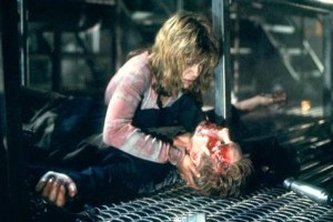 Sarah finding Kyle dead in the factory.