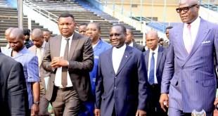 Le premier ministre, Sylvestre Ilunga Ilunkamba en visite au stade des Martyrs pour se rendre compte de l'état de ce complexe sportif menacé par la Caf