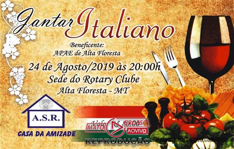 """APAE de Alta Floresta realiza """"Jantar Italiano"""" em parceria com a Casa da Amizade no Rotary Club do município 66"""