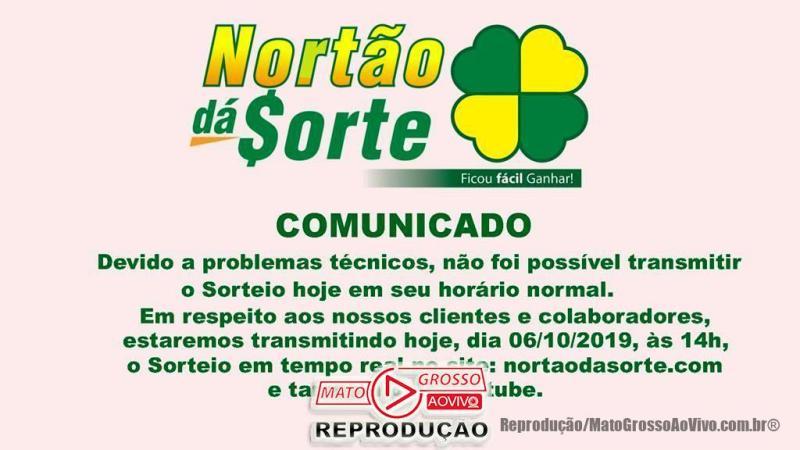 Nortão da Sorte deste Domingo 06/10 tem sorteio adiado para 14:00, devido a problemas técnicos 65